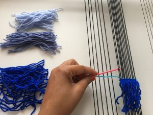 color gradation in weaving rya knots